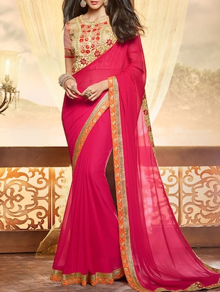 magenta chiffon embroidered saree with blouse