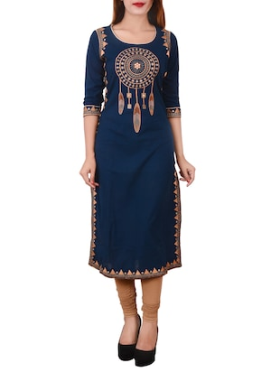 blue cotton straight kurta