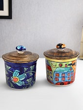 Set Of 2 Airtight Ceramic Jars With Wooden Lid - By