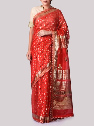 Red printed cotton blend saree
