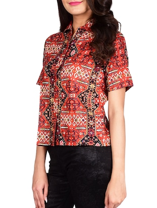 red cotton shirt - 13377087 - Standard Image - 2