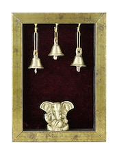 Wall Hanging Temple With Brass Statue Of Ganesh - By