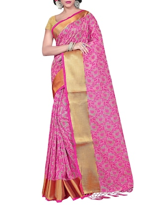pink cotton silk banarasi saree with blouse