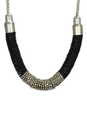 Lass Vogue Black Seed Beads Statement Necklace - By