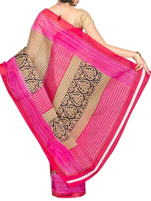 pink cotton blend printed saree with blouse - 13408702 - Standard Image - 2