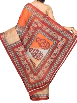 orange cotton blend printed saree with blouse - 13408711 - Standard Image - 2