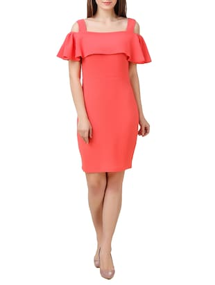 peach sheath dress