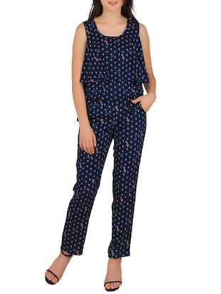 navy blue printed crepe full leg jumpsuit