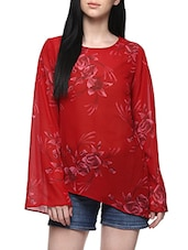 red poly georgette assymmetric top -  online shopping for Tops