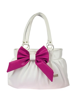 white leatherette  handbag
