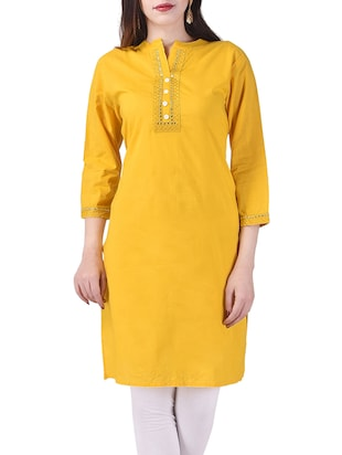 yellow cotton straight kurta