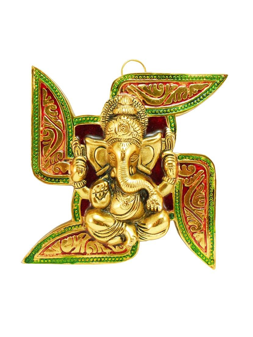 Buy Decorative Wall Hanging Of Lord Ganesha On Swastik Metal ...