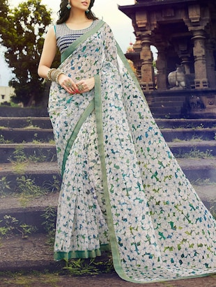 multi colored cotton blend floral printed saree