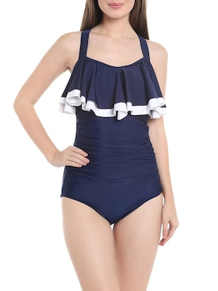 dark blue ruffled monokini
