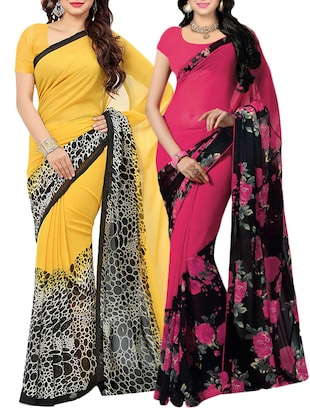 multi faux georgette combos saree