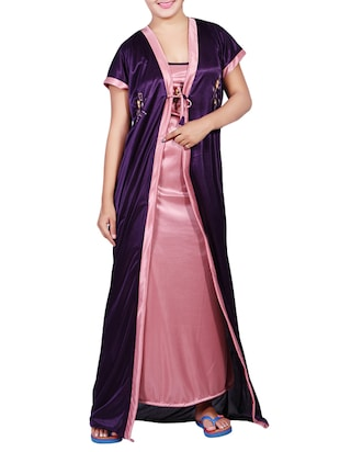 4970509e20a Buy Purple Satin Nighty With Kimono for Women from Mahaarani for ₹599 at  40% off