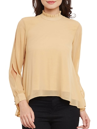 beige georgette regular top -  online shopping for Tops