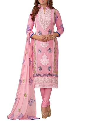 Pink cotton embroidered dress material