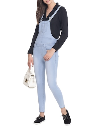 light blue denim dungree jumpsuit