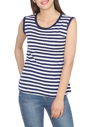 ee22550b695 navy blue striped viscose regular top - Online Shopping for Tops