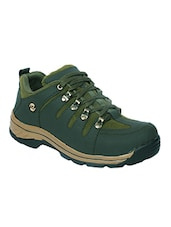 green leatherette lace up sports shoes -  online shopping for Boots