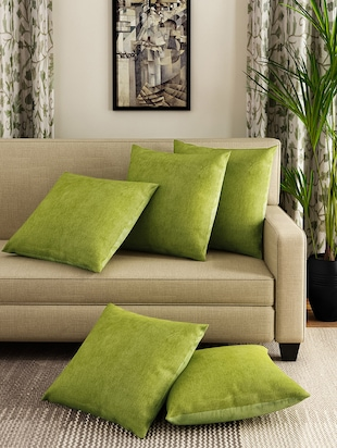 pleasurable designer sofa throws. Romee Green Set Of 5 Cotton Cushion Cover  online shopping for Covers Buy Sofa Designs Online in India