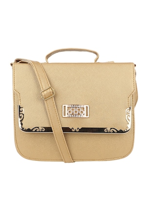 gold leatherette regular sling bag