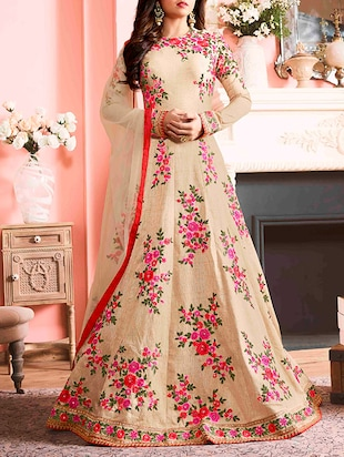 beige embroidered anarkali semi-stitched suit