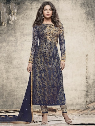 blue net georgette embroidered straight pant suit dress material