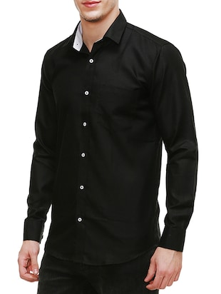 solid black cotton casual shirt - 13667900 - Standard Image - 2