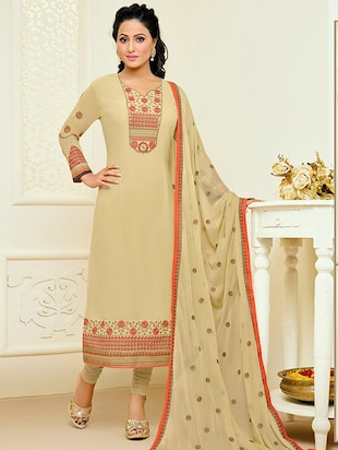 beige georgette churidaar suits dress material