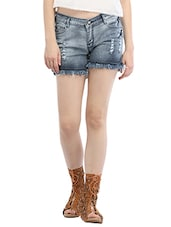 blue denim distressed short -  online shopping for Shorts