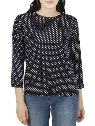 black polka dots printed top