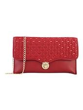 Red Leatherette Regular Sling Bag - By