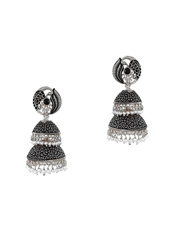 679a1e56dd2 Buy Silver Zinc Jhumka Earrings by Zaveri Pearls - Online shopping ...