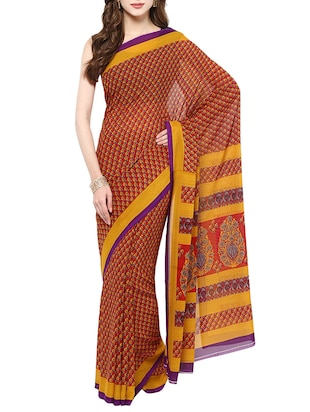 red colored printed saree