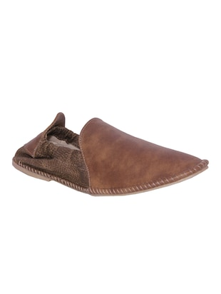 brown mesh & synthetic slip on mojaris -  online shopping for Mojaris