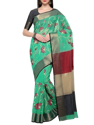 Green Cotton Woven Embroidered Saree