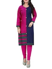 pink & blue cotton colour block straight kurta -  online shopping for kurtas