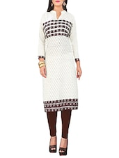 white cotton printed straight kurta -  online shopping for kurtas