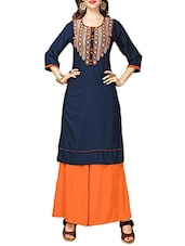 blue rayon embroidered straight kurta -  online shopping for kurtas