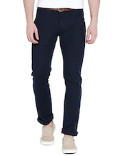 navy blue cotton chinos casual trousers -  online shopping for Casual Trousers
