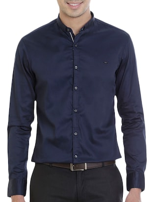 navy blue cotton formal shirt