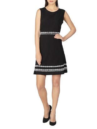 black crepe aline dress
