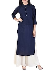 blue cotton solid kurta palazzo set -  online shopping for Sets