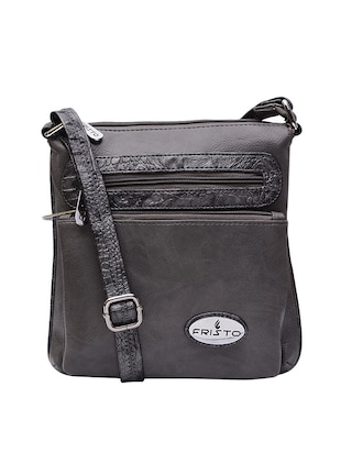 grey leatherette regular sling bag