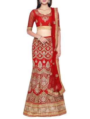 red net embroidered lehenga
