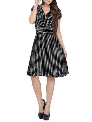 black poly crepe A-line dress