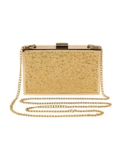 gold leatherette box clutch -  online shopping for clutches