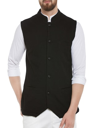solid black cotton waist coat